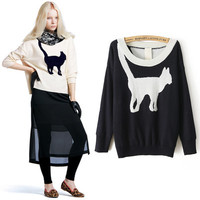 White Trendy Cute Cat Printed Sweater from Crazy Cats