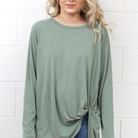 Long Sleeve Get Twisted Modal Top {Sage}