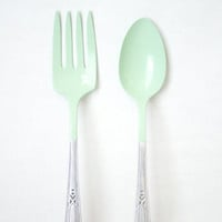 Serving Silverware - Mint Green Powder Coated - 2pc