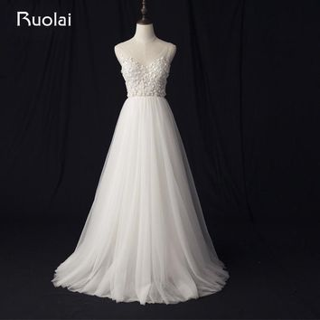 Real Photo Simple Flower Wedding Dresses Long A-Line V-Neck Tulle Lace Bridal Gown Boho Wedding Dresses Robe de Mariage RW8