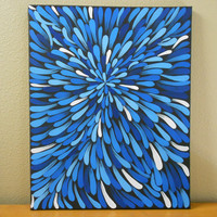 Painting Blue Aboriginal Inspired 16 x 20 by Acires on Etsy