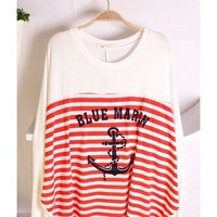 Women Autumn New Style Long Sleeve Scoop Loose Batwing Stripe Blue Cotton Blouse One Size@WH0043bl $9.57 only in eFexcity.com.
