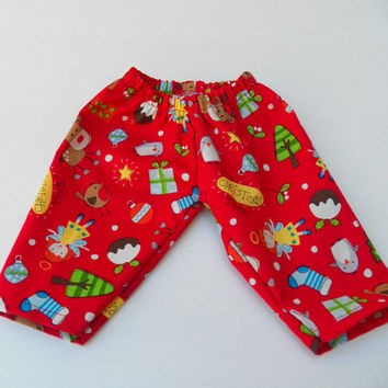 "American Girl Bitty Baby Clothes 15"" Doll Clothes Boy or Girl Red Christmas Tree Reindeer Stocking Elastic Waist Pajamas Pants"
