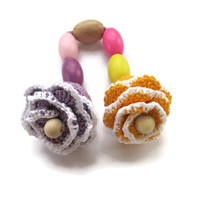 Baby Teething toy flowers worm beads Baby Stroller Toy Toddler gift baby crochet wooden natural teether Toddler Toys multicolor grasping toy