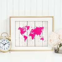 Rustic Chic Home Decor, World Map Print, Travel Art Print, Faux Wood Print, World Map Poster, Travel Nursery Art, Chic Office Decor,SKU