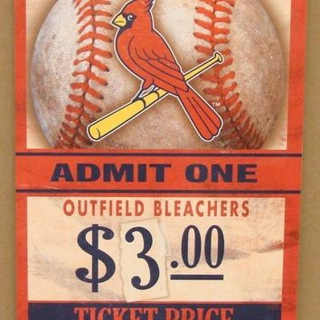 "ST. LOUIS CARDINALS GAME TICKET ADMIT ONE GO CARDINALS WOOD SIGN 6""X12'' NEW"