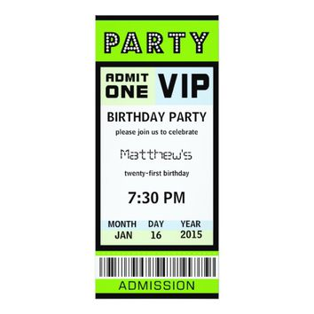 Ticket 21st Birthday Party Invitations Green