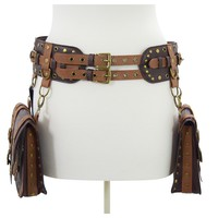 Restyle Western Steampunk Saddlebag Double Buckle Wide Utility Belt