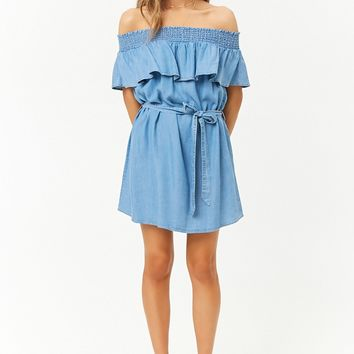 Chambray Smocked Off-the-Shoulder Mini Dress