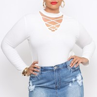 Plus Size Ribbed V-Neck Choker Top - White