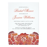 Orange Floral Watercolor Bridal Shower Invitations