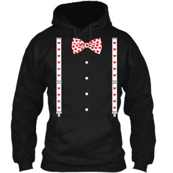 Hearts Bow Tie & Suspenders Valentine's Day Costume  Pullover Hoodie 8 oz