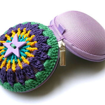 Crochet Mandala Bag - Coin Purse - Turquoise, Yellow, Violet, Green, Lilac Star Button, Lilac Base