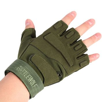 Military Usa Special Forces Tactical Gloves Fighting Combat Slip-resistant Army green Half Finger Gloves Outdoor Cycling Gloves