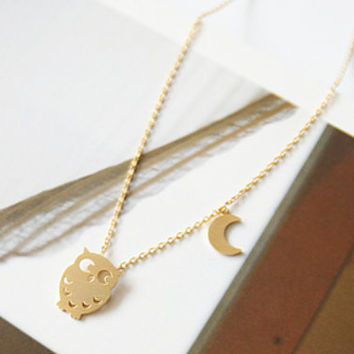 Cute Owl Necklace, Cute Necklace, Brass Necklace, Animal Necklace, Crescent Moon Necklace, Character Necklace, Anniversary Gift, Girls Gift