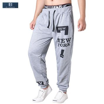 [EL BARCO] New Cotton Letter-Print Men Casual Pants Autumn Soft Breathable Male Sweatpants Black Grey Joggers Cargo Trousers 3XL