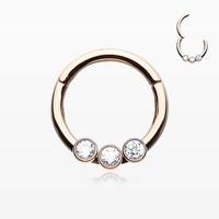 Rose Gold Sparkle Trio Seamless Clicker Ring