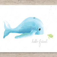 Hello Friend Whale and Turtle Art Print, Whale Art Print, Ocean Nursery Decor, Sea Turtle Art Print, Ocean Nursery Art Print, Baby Room Art