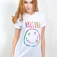 Nirvana Rainbow Roses Screenprinted T Shirt