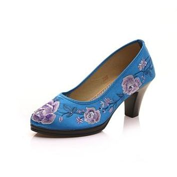 High End Satin Floral Embroidered Women's Pumps Chunk Medium Heel Elegant Ladies Round Toe Retro Shoes Zapatos Mujer