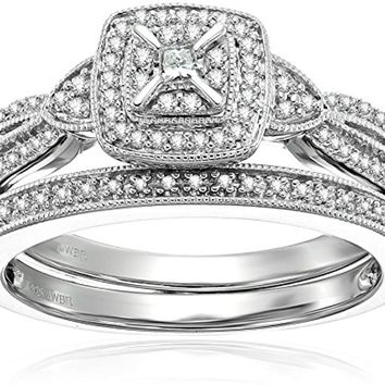 CERTIFIED 1/4cttw Sterling Silver Diamond Bridal Set with a Split Shank and straight wedding band