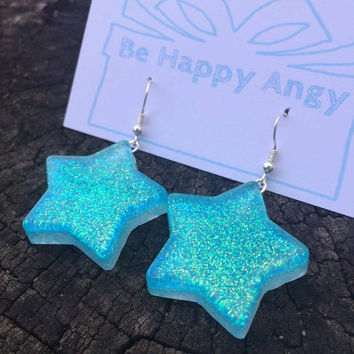 Magical glitter star earrings resin jewelry resin jewellery cute kawaii sparkly fairy kei harajuku blue seafoam handmade fashion pastel