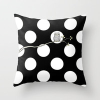 Out on a Limb - Polka Dot Owl Moon Throw Pillow by micklyn