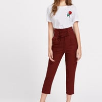 Lace Up Empire Cropped Pants EmmaCloth-Women Fast Fashion Online