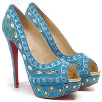 Christian Louboutin Fashion Edgy Sequin Embroidery Diamond Red Sole Heels Shoes