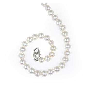 "Honora 7-8 MM White Rondel Freshwater Pearl 18"" Necklace with Sterling Silver Clasp"