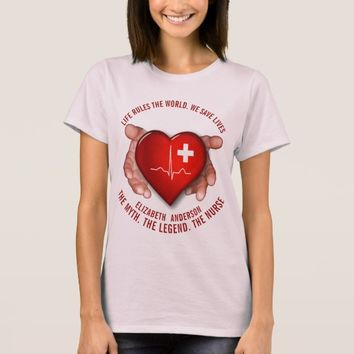 Registered Nurse With Red Heart In Hands T-Shirt