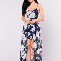 Floral Waterfall Dress - Navy