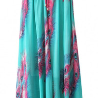 Feather Print Chiffon Elastic Waist Maxi Skirt