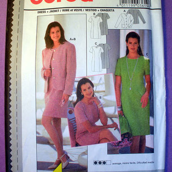 Women's Dress and Jacket, Misses' Size 8, 10, 12, 14, 16, 18 Burda 3619 Sewing Pattern Uncut