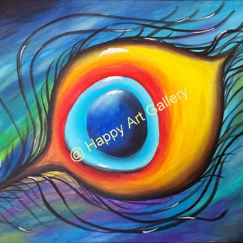 """Peacock feather - 20""""X16"""" Original  Acrylic painting on canvas FREE SHIPPING Wall decor bird red yellow orange blue green"""