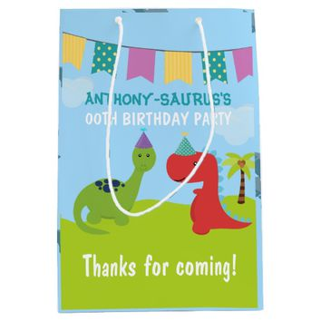 Cute Personalised Dinosaur themed Party Medium Gift Bag