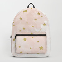Gold stars on blush pink Backpack by edrawings38
