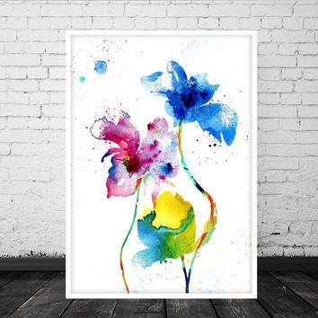 Watercolor Wall Art,Botanical Artwork Print, Floral Art, Flower Art Prints, Abstract Floral Art, Watercolour Flowers, Watercolor Prints