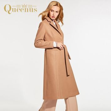 Queenus Autumn Winter Women Overcoat Turn down Collar Long Length Full Sleeve Fashion Casual Coats Camel Slim Women Wool Coats