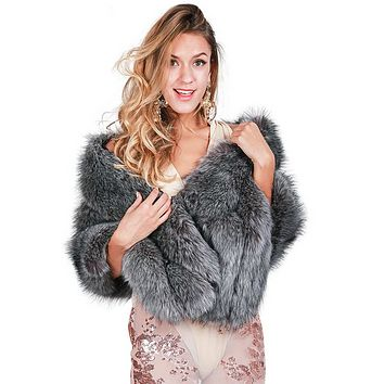Winter Grey Faux Fox Fur Stole/Shawl