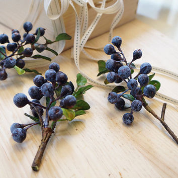Blueberries – artificial flower – 3 stems – flower headpiece – wedding décor – hair crown (FD02-1)