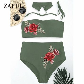 Zaful 2017 Women New Floral Applique Bandeau Collar High Waisted Bikini Sexy Floral Printed Swimsuit Summer Beach Swimwear
