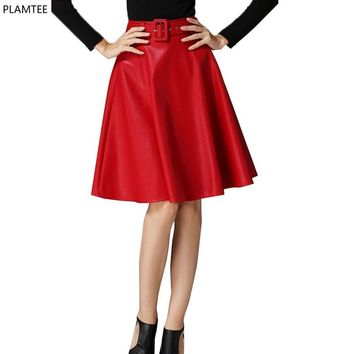 Solid Red Leather Skirt 2017 New Fashion Pleated Skirt 3 Colors Tutu Skirts Womens Knee-length Jupe Saia Midi Wild Faldas Mujer