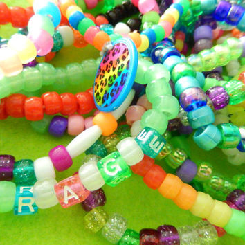 10 Kandi Kawaii Charm Raver Plur Pony Bead Awesome Bracelets with tons of extra goodies! Great deal for Great items! Handmade to order
