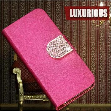 Newest 5 Colors Luxury Elegant Pu Leather Mobile Phone Cases Cover For Lg L Fino D290n D295   Free Shipping
