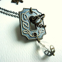 Bronze Victorian Escutcheon Keyhole Necklace with Clear Crystal & Bronze Skeleton Key Dangle, Steampunk Jewelry