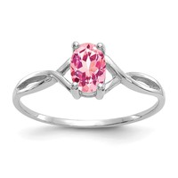 14k White Gold Genuine Pink Tourmaline October Birthstone Ring