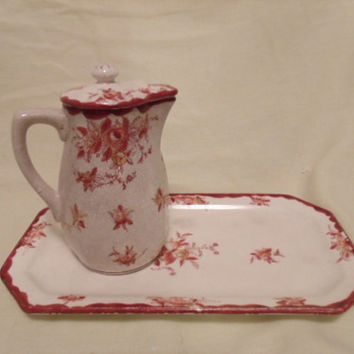 Vintage Tea Party, Japan Tea Set for One, Red Floral Pitcher and Rectangular Plate, Vintage Kitchen