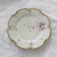 Vintage Limoges Plate, Made in France, Antique Limoges, Hand painted Lavender Violets Gold Rim, Wall Plate, 9 Inch,