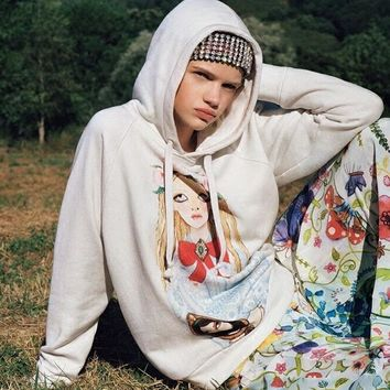"""Gucci"" Doll Pattern Print Hooded Long Sleeve Sweater Tops Women Hoodie"